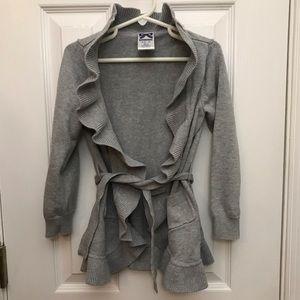 Girls Ruffle Sweater Gymboree Small 5/6 Grey